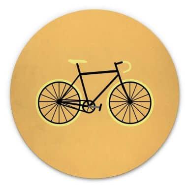 Tableau en alu-Dibond Kubistika - Bicyclette - Rond