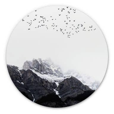 Wandcirkel Kubistika - High in the Mountains