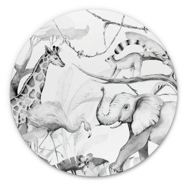 Wandcirkel Kvilis - Dierenvrienden in de Jungle zwart-wit