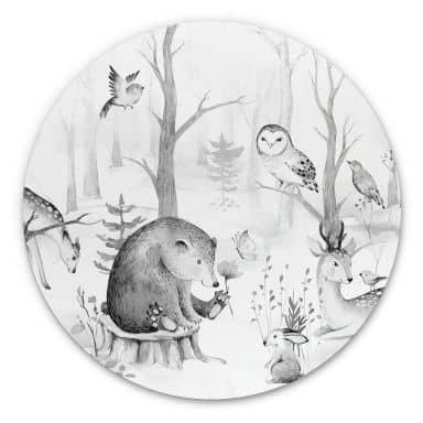 Alu-Dibond Kvilis - Tierfreunde im Wald schwarz-weiß - Rund