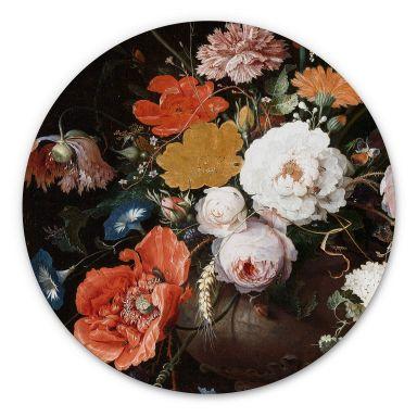 Alu-Dibond Mignon - Stillleben mit Blumen und einer Uhr - Rund