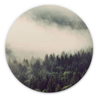 Alu-Dibond Nebel im Wald 02 - Rund