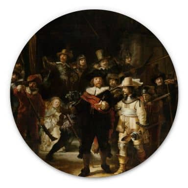 Alu-Dibond Rembrandt - Die Nachtwache - Rund