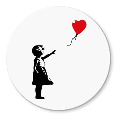 Glasbild Banksy - Girl with the red balloon - Rund