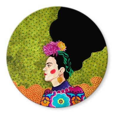 Glasbild Hülya - Frida im Portrait - Rund