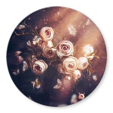 Glasbild Kiral - Der Rosenstrauß - Rund