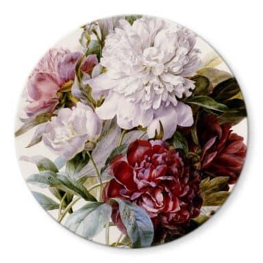 Glasbild Redouté - Strauß von roten, lila und weißen Pfingstrosen - Rund