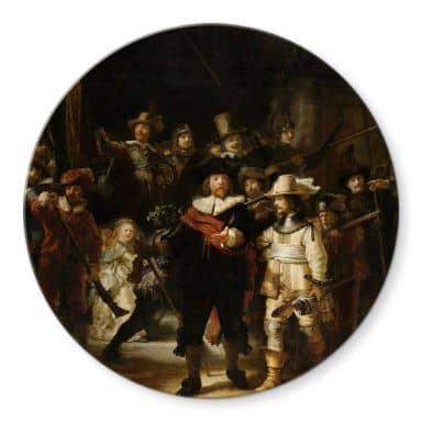 Glasbild Rembrandt - Die Nachtwache - Rund