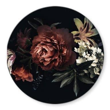 Glasbild Blumenbouquet Rot - Rund