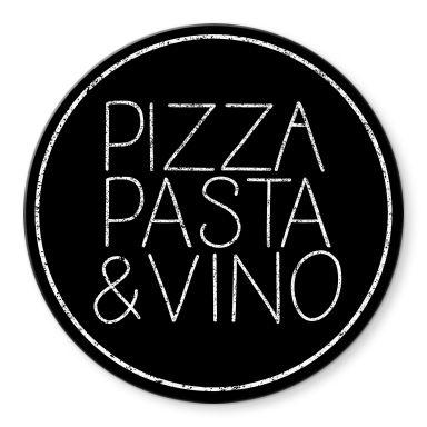 Glasbild Pizza Pasta & Vino schwarz - Rund