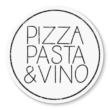 Glasbild Pizza Pasta & Vino weiß - Rund