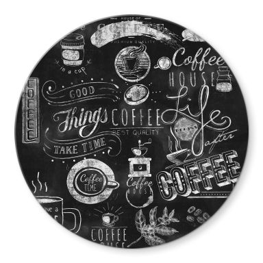 Tableau sur verre World of Coffee - Rond