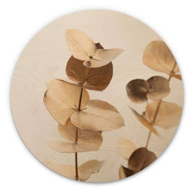 Holzbild 1X Studio - Goldener Eukalyptus - Rund