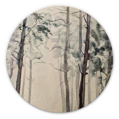 Holzbild Aquarell Wald - Rund