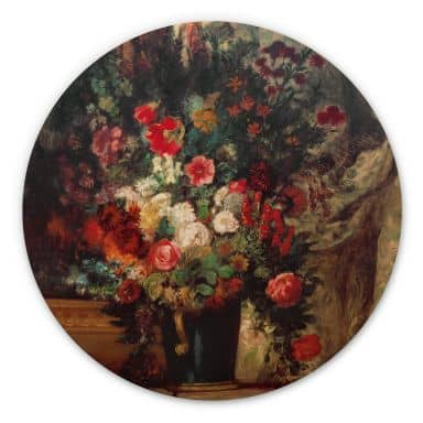 Holzbild Delacroix - Vase mit Blumen auf einer Konsole - Rund