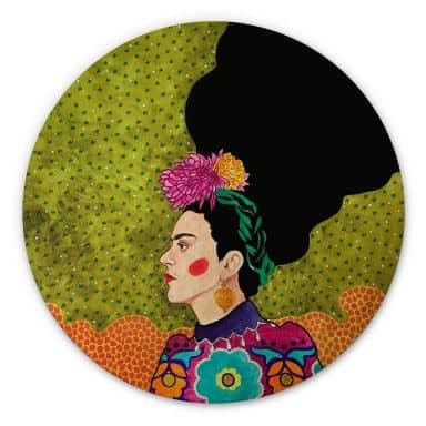 Holzbild Hülya - Frida im Portrait - Rund