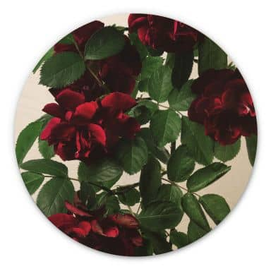 Holzbild Kadam - Flora Rose - Rund