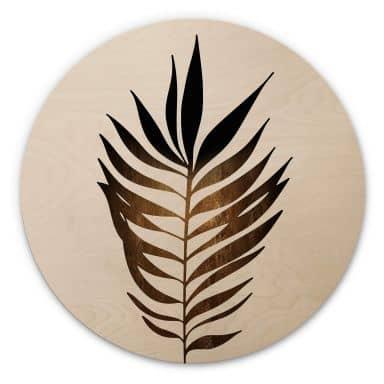Wandcirkel Hout Kubistika Golden Leaf