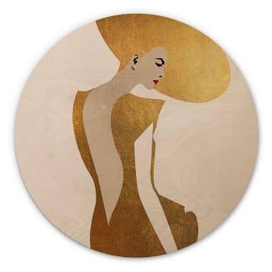 Holzbild Kubistika - Die Dame im goldenen Kleid - Rund