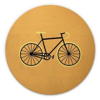 Tableau sur bois Kubistika - Bicyclette - Rond