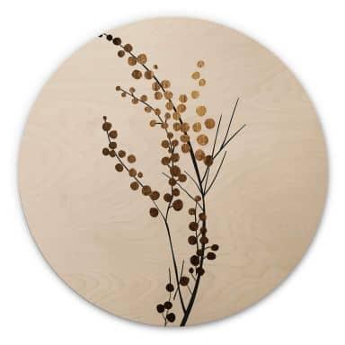 Holzbild Kubistika - Goldener Zweig - Rund