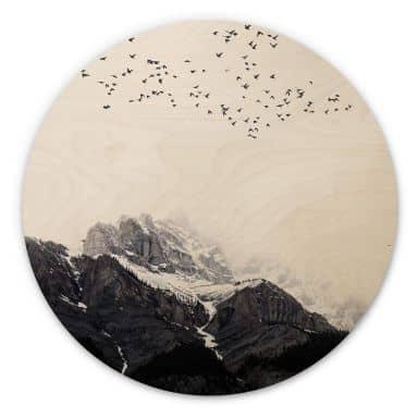 Wandcirkel Hout Kubistika - High in the Mountains