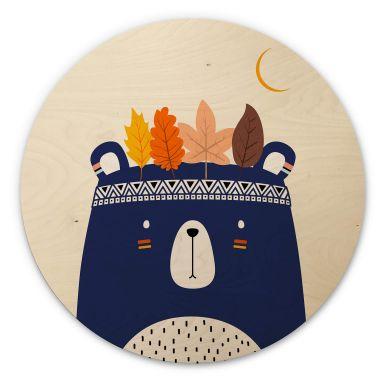 Holzbild Kubistika - Kleiner Indianer - Rund