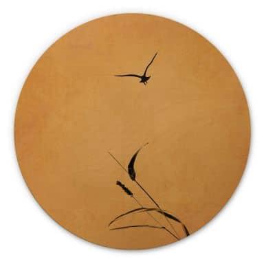Wandcirkel Hout Kubistika - Sunrise Bird