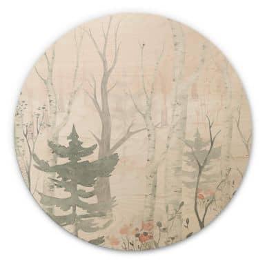 Tableau sur bois Kvilis - Dans la forêt - Rond