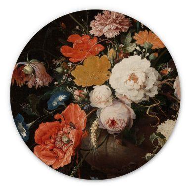Holzbild Mignon - Stillleben mit Blumen und einer Uhr - Rund