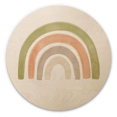 Houten Wandcirkel Aquarel Regenboog