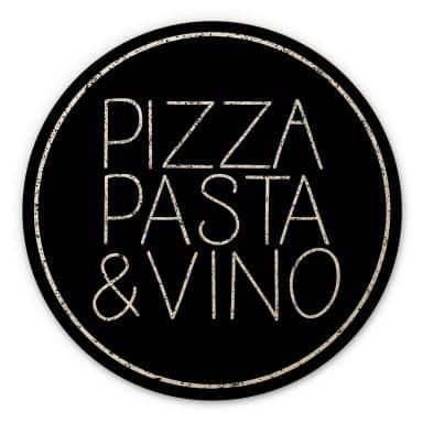 Holzbild Pizza Pasta & Vino schwarz - Rund