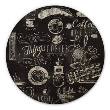 Tableau sur bois World of Coffee - Rond