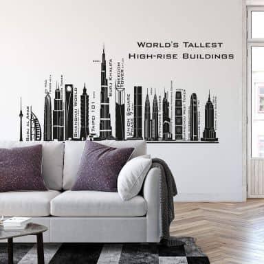 Wandtattoo Tallest Skyscrapers Skyline