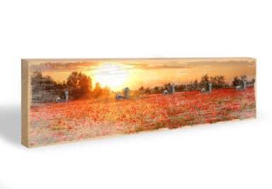 Key Holder - Poppies at Sunset + 5 Hooks