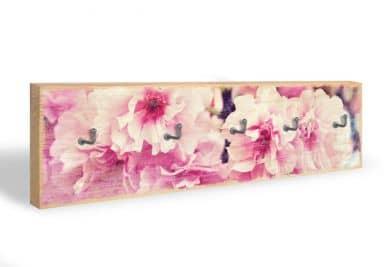 Accroche-clés -Fleurs de cerisier vintage + 5 crochets