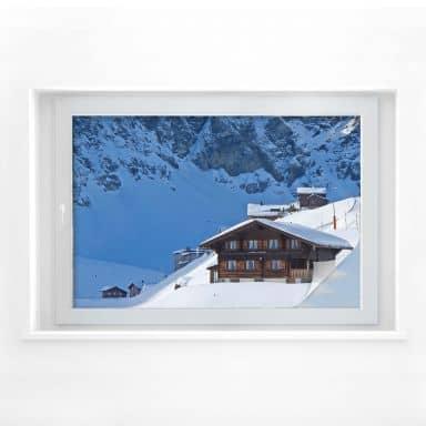Sichtschutzfolie Ferienhütte in den Schweizer Alp