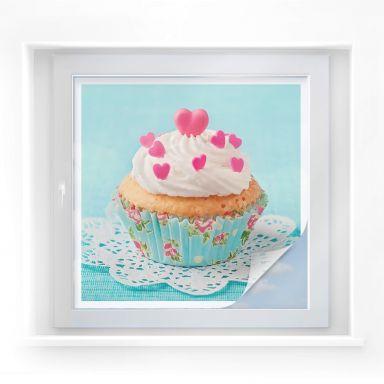 Sichtschutzfolie Hearts on Cupcake - quadratisch