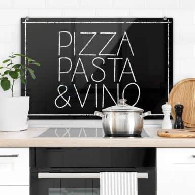 Spritzschutz Pizza Pasta & Vino schwarz