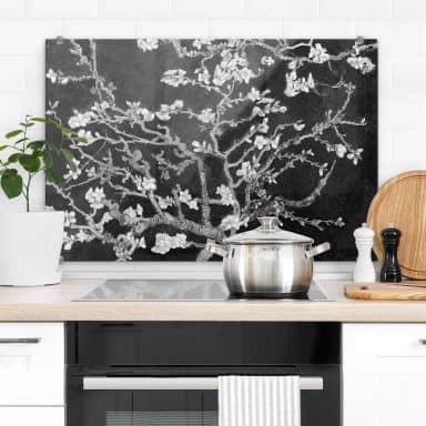 Spritzschutz van Gogh - Mandelblüte - schwarz