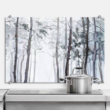 Crédence Forêt aquarelle