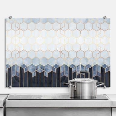 Splashback Fredriksson - Blue & White Hexagons