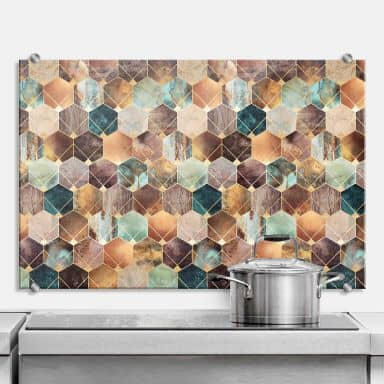 Splashback Fredriksson - Gold & Copper Hexagons