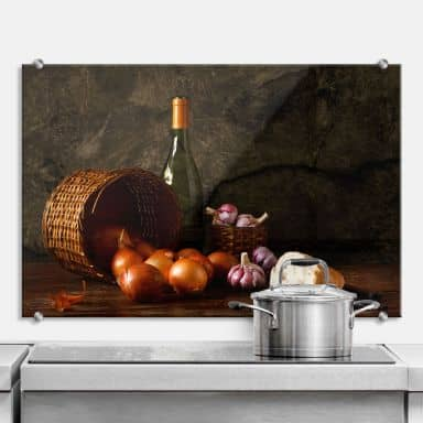 Laercio - Basket of Onions - Kitchen Splashback