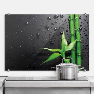 Bamboo over Black - Kitchen Splashback