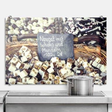 Spritzschutz Nougat mit Schokolade und Mandeln