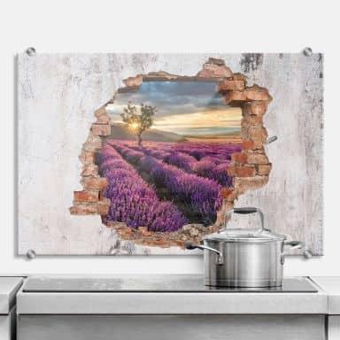 Spritzschutz 3D Optik - Lavendelblüte in der Provence