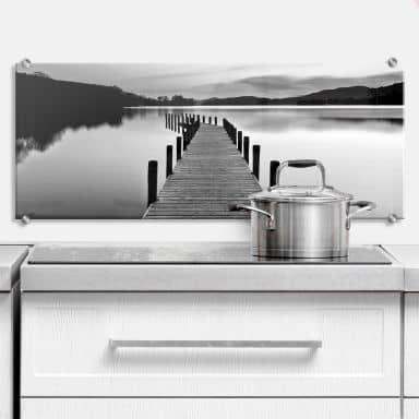 Sea Panorama - black/white - Kitchen Splashback