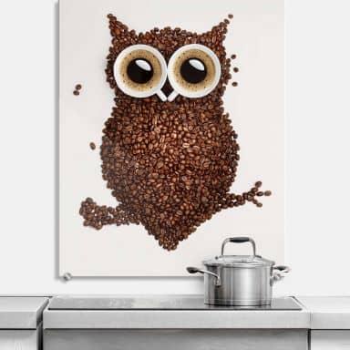 Pannello paraschizzi - Una civetta di caffè - verticale