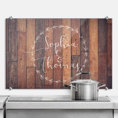 Splashback Wooden look with your own text
